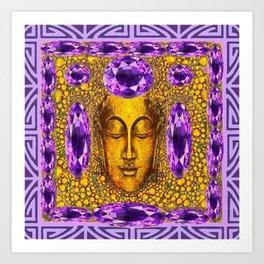ART NOUVEAU AMETHYST PURPLE & GOLD BUDDHA ABSTRACT Art Print