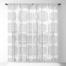 Mid Century Modern Atomic Rings Pattern Gray 3 Sheer Curtain
