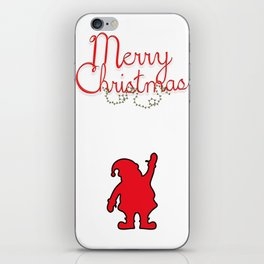 Merry Christmas with Santa and black borders iPhone Skin