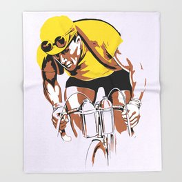 The yellow jersey (retro style cycling) Throw Blanket