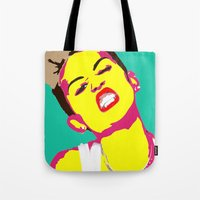 miley cyrus Tote Bags featuring Miley Cyrus by Becky Rosen