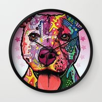 rottweiler Wall Clocks featuring Rottweiler Dog by trevacristina