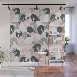 Playing Horses pattern Wall Mural