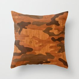 Modern Woodgrain Camouflage / Woodland Print Throw Pillow