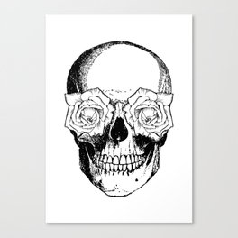Skull and Roses | Black and White Canvas Print