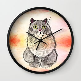 Cat in Autumn Wall Clock