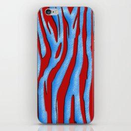 Bright Red & Blue Zebra Print iPhone Skin