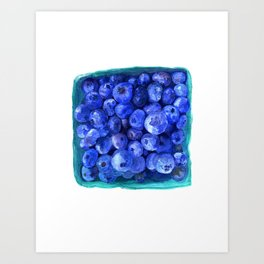 Watercolor Blueberries by Artume Art Print