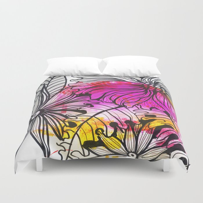 bright pink flowers Duvet Cover