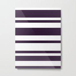 Mixed Horizontal Stripes - White and Dark Purple Metal Print