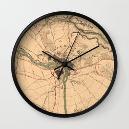 Vintage Richmond VA Rebel Defense Map (1864) Wall Clock
