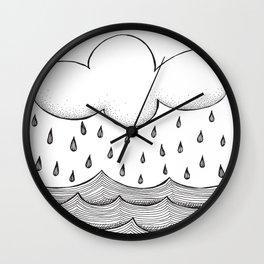 rain and waves Wall Clock