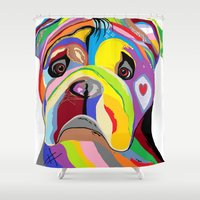 english bulldog Shower Curtains featuring Bulldog by EloiseArt