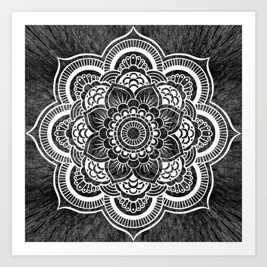 Mandala Slate Gray Colorburst Art Print