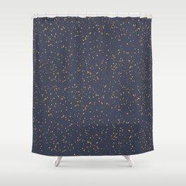 Speckles I: Dark Gold on Blue Vortex Shower Curtain