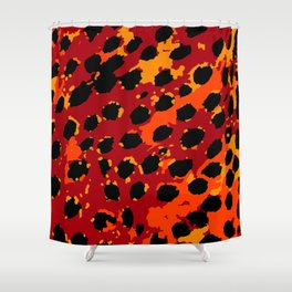 Cheetah Spots in Red, Orange and Yellow Shower Curtain