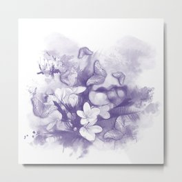 Ultraviolet tropical flowers and butterflies Metal Print