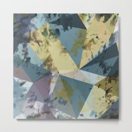 psychedelic geometric triangle polygon pattern abstract in blue yellow pink Metal Print