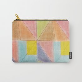 Geometric Abstract  Pastel Pink Violet Teal Triangles Pattern Carry-All Pouch