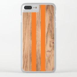 Wood Grain Stripes - Orange #840 Clear iPhone Case