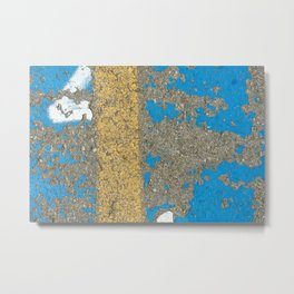Urban Texture Photography - Painted Asphalt - Blue and Yellow Metal Print