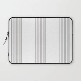 Farmhouse Ticking Stripes in Gray on White Laptop Sleeve