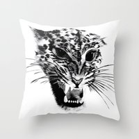 snow leopard Throw Pillows featuring Snow Leopard by pbnevins