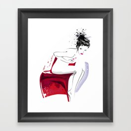 Naked Beauty, Nude Body, Fashion Painting, Fashion IIlustration, Vogue Portrait, Red colour, #14 Framed Art Print