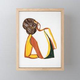 Minimal back woman Framed Mini Art Print