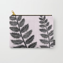 Black Lace Fern Blush Pink Carry-All Pouch