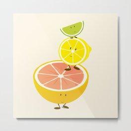 Smiling citrus fruit stack Metal Print