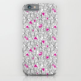 Elios Shirt Faces with Valentine Hearts in Black Outlines with Hot Pink Hearts iPhone Case