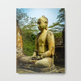 Buddha statue seated around stupa of The Polonnaruwa Vatadage Metal Print