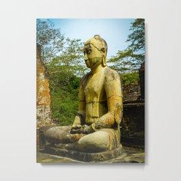 Buddha statue seated around stupa of The Polonnaruwa Vatadage Metal Print