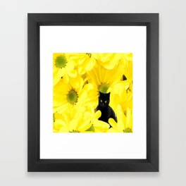 Black Cat Yellow Flowers Spring Mood #decor #society6 #buyart Framed Art Print