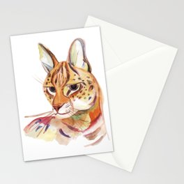 Serval wild cat watercolor Stationery Cards