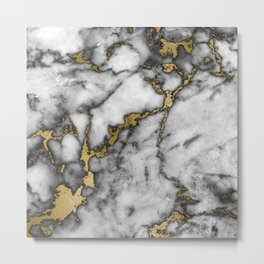 Faux marble Stone Gray Tones Gold Accent Metal Print