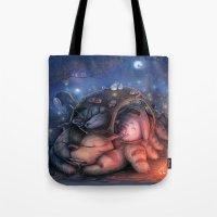 ghibli Tote Bags featuring Ghibli Sleepover by KehChoonWee