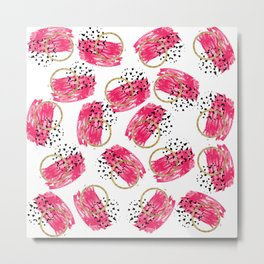 Abstract Black Pink and Faux Gold Brushstrokes Metal Print