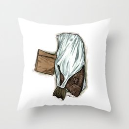 Flatfish and mushrooms. Throw Pillow
