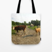 cows Tote Bags featuring Cows by Emily Elizabeth Reichmann