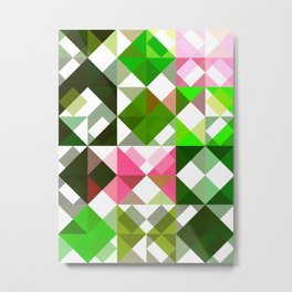 Pink Roses in Anzures 5  Abstract Triangles 1 Metal Print