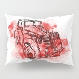 old car and red smoke Pillow Sham