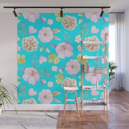 Artist hand painted pink lavender teal watercolor floral Wall Mural