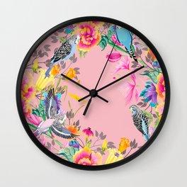 Stardust Pink Floral Birds Motif Wall Clock