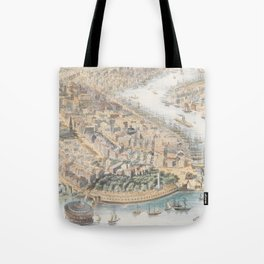 Vintage Pictorial Map of New York City (1852) Tote Bag