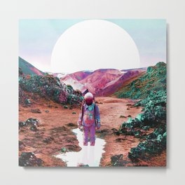 Astronaut and Colorful Landscape Metal Print