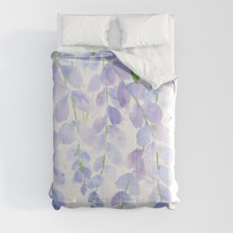 Wisteria Watercolor Print, Floral Watercolor by Liz Ligeti Kepler Comforters