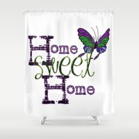 home sweet home Shower Curtains featuring Home Sweet Home by CatDesignz