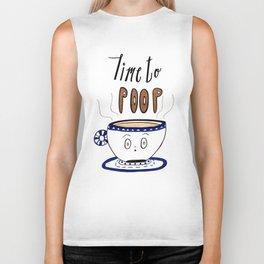 Time to Poop, Illustration, Watercolor, Coffee Art, Hand lettering, Poop Jokes. Biker Tank